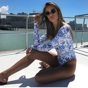 Blue and White Porcelain Long Sleeve Swimsuit Bodysuit