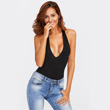 Clever Kittens Drape Me Back Plunge Halter Beaded Bodysuit with jeans