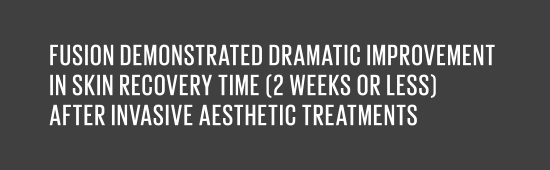FUSION demonstrated dramatic improvement in skin recovery time (2 weeks or less) after invasive aesthetic treatments