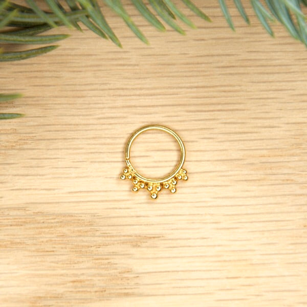 16g 5/16 Yellow Gold Plated Tri Bead Seam Ring