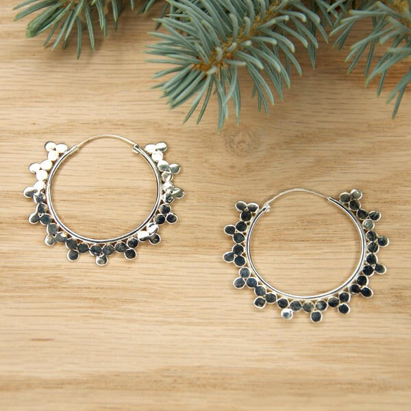White Gold Plated Tri Bead Hoops