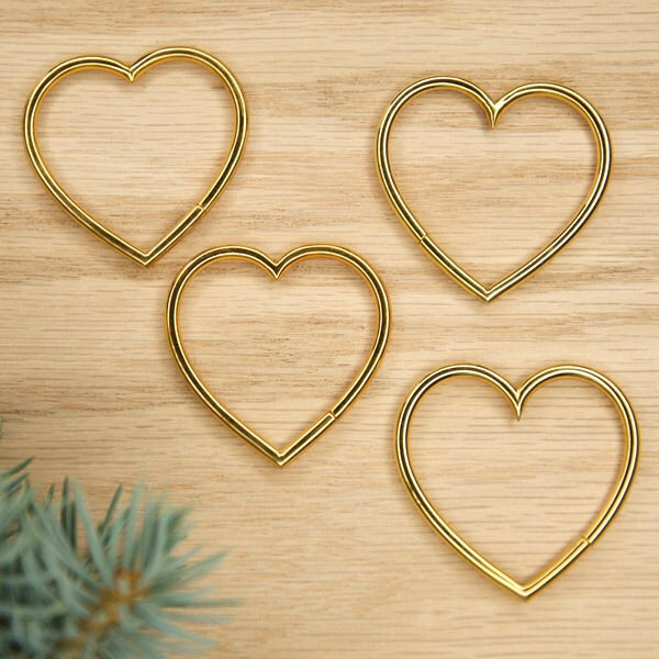 8g Yellow Gold Plated Seam Hearts