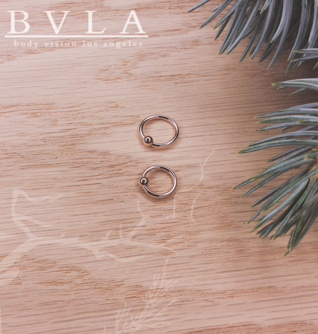 16g 3/8 Rose Gold Fixed Bead Ring