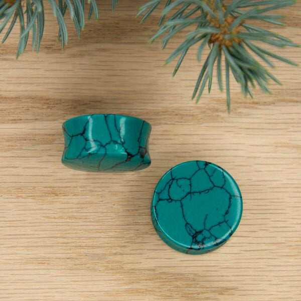 3/4 Double Flared Green Turquoise Plugs