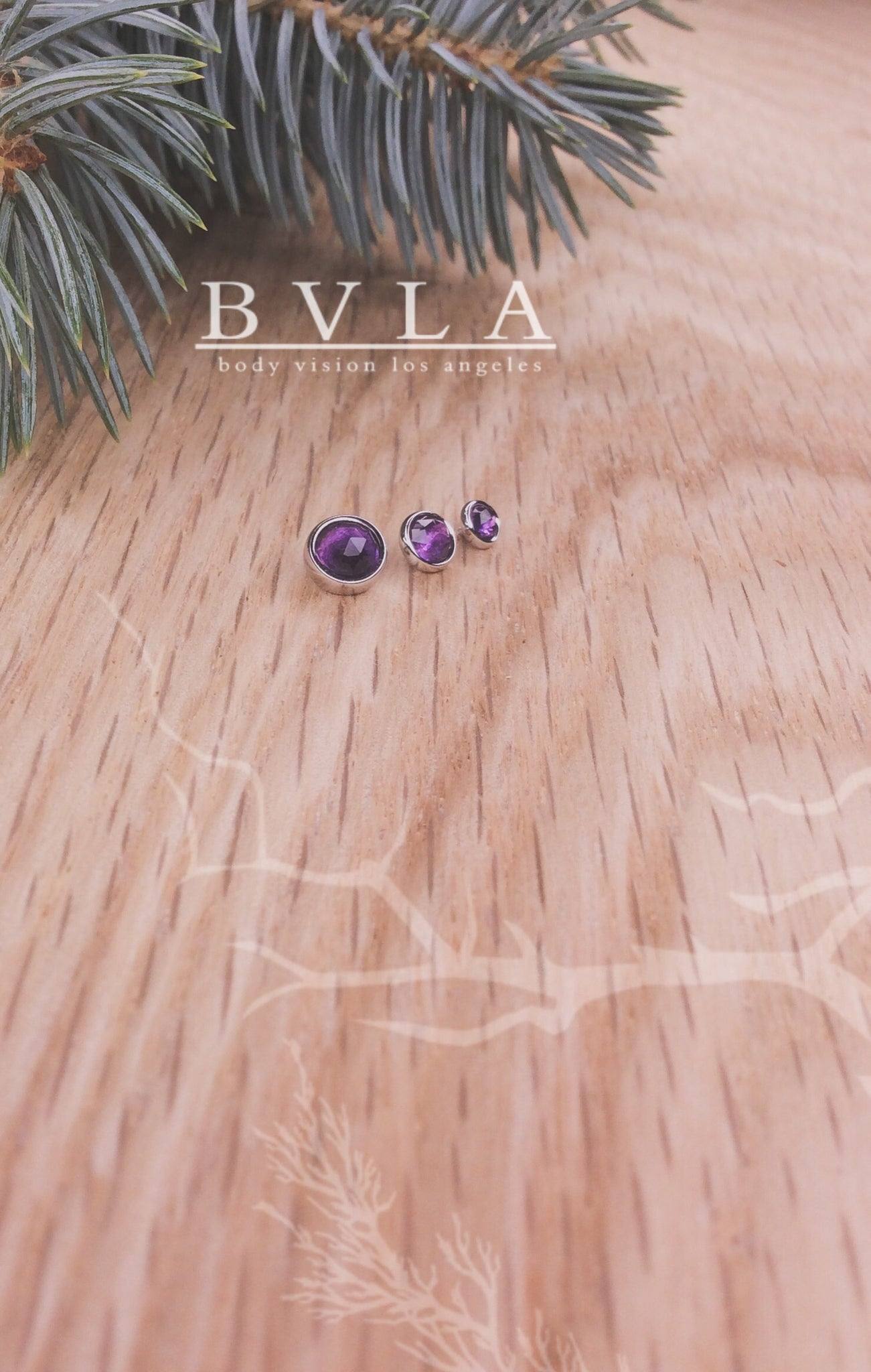 3mm White Gold Rose Cut Amethyst End