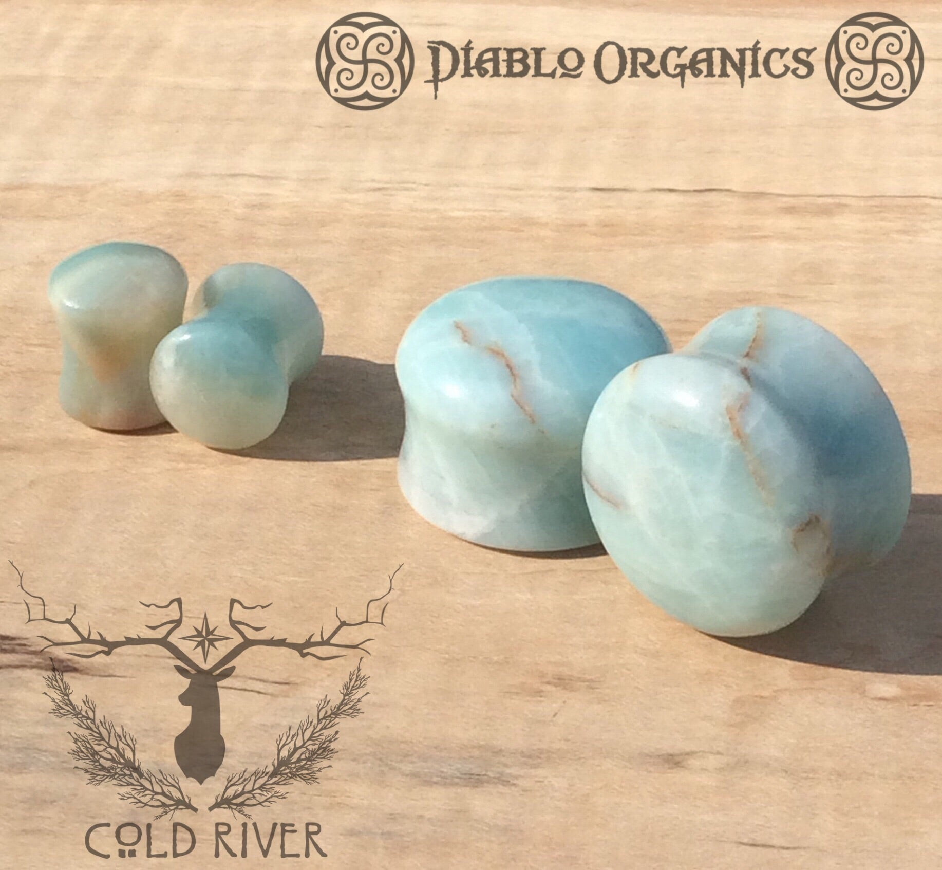 00g (9.5mm) Amazonite Stone Plugs