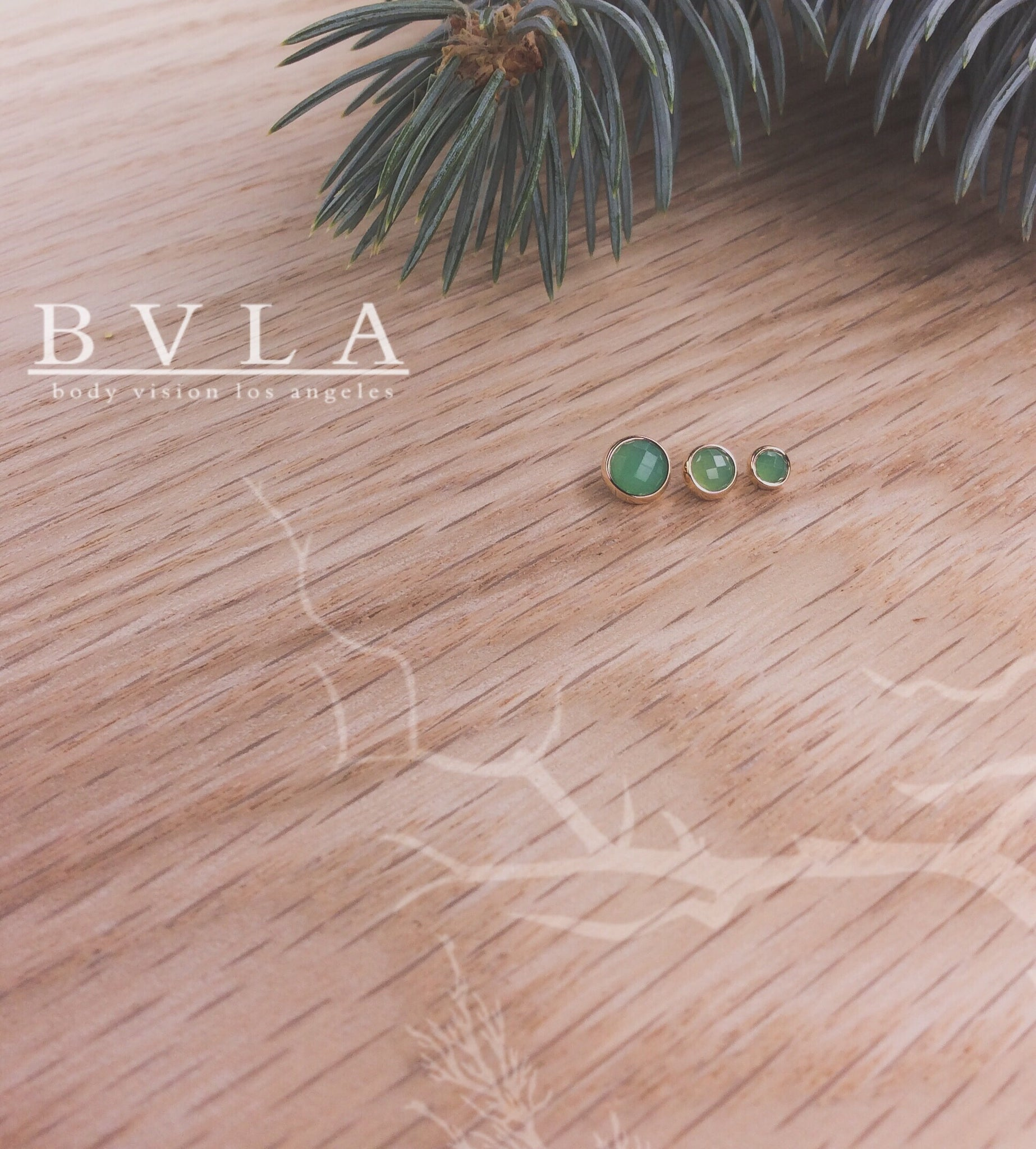 3mm Yellow Gold Rose Cut Chrysoprase End