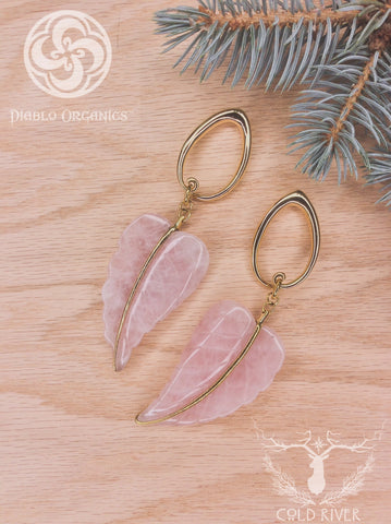 Rose Quartz Leaves w/ 2g Brass Tear Coils