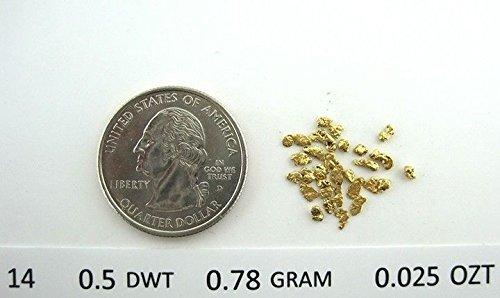 Alaskan Yukon Gold Rush Nuggets 14-12 Mesh .025 Troy Oz .78 Grams Or 1/2 Dwt Bc Flake