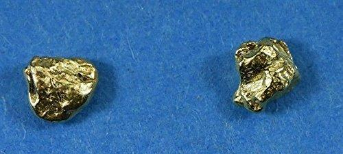 Alaskan-Yukon Bc Natural Gold Nugget Stud Earrings .40 To .50 Grams Alaskan