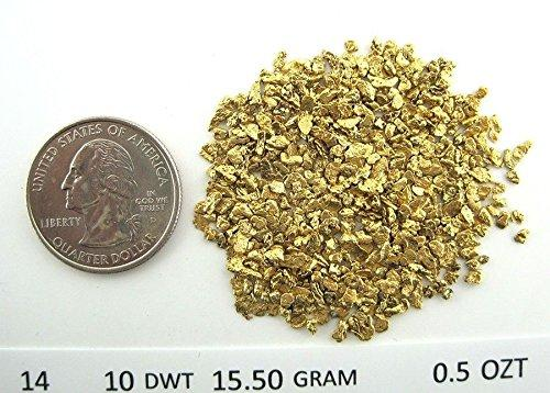 Alaskan Yukon Gold Rush Nuggets 14-12 Mesh 1/2 Troy Oz 15.5 Grams Or 10 Dwt Bc Flake