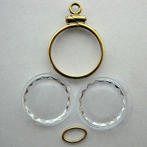 Gold Nugget Holder Qty 17Mm Filled W/ 2 Watch Crystals & 1-Jump Ring Alaskan Bc Gold Flake Nuggets