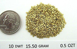 Alaskan Yukon Gold Rush Nuggets #20 Mesh 1/2 Troy Oz 15.5 Grams Or 10 Dwt Bc Flake
