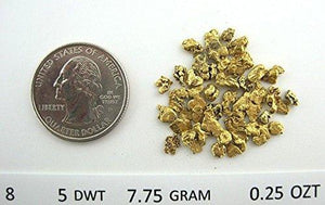 Alaskan Yukon Gold Rush Nuggets #8 Mesh 1/4 Troy Oz 7.75 Grams Or 5 Dwt Bc Flake