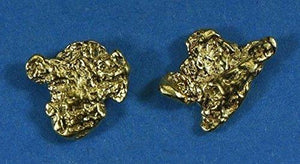 Alaskan-Yukon Bc Natural Gold Nugget Stud Earrings 1.10 To 1.20 Grams Alaskan