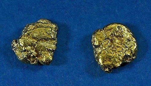 Alaskan-Yukon Bc Natural Gold Nugget Stud Earrings 1.30 To 1.40 Grams Alaskan
