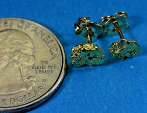 Alaskan-Yukon Bc Natural Gold Nugget Stud Earrings 1.40 To 1.50 Grams Alaskan