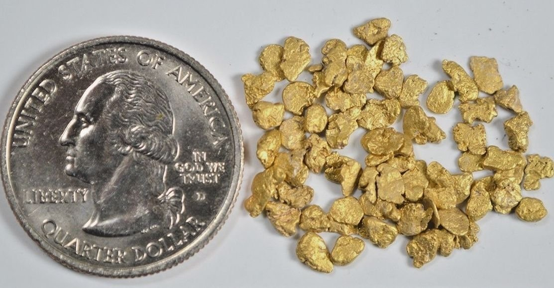 Alaskan Yukon Gold Rush Nuggets 10-9 Mesh 5 Grams Bc Flake