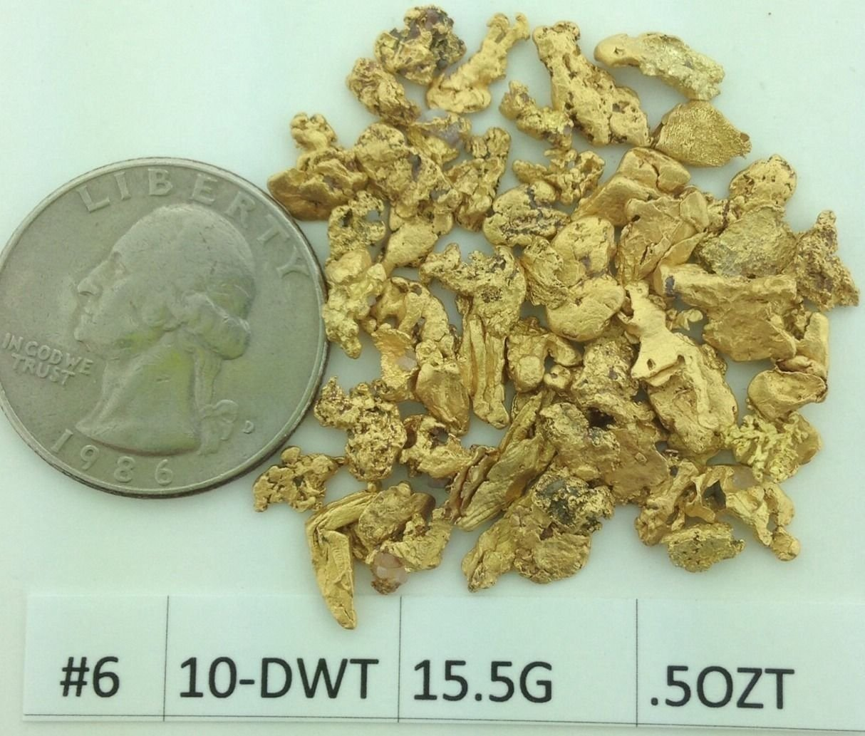 Alaskan Yukon Bc Gold Rush Nuggets #6 Mesh 1/2 Troy Oz 15.5 Grams Or 10 Dwt Flake