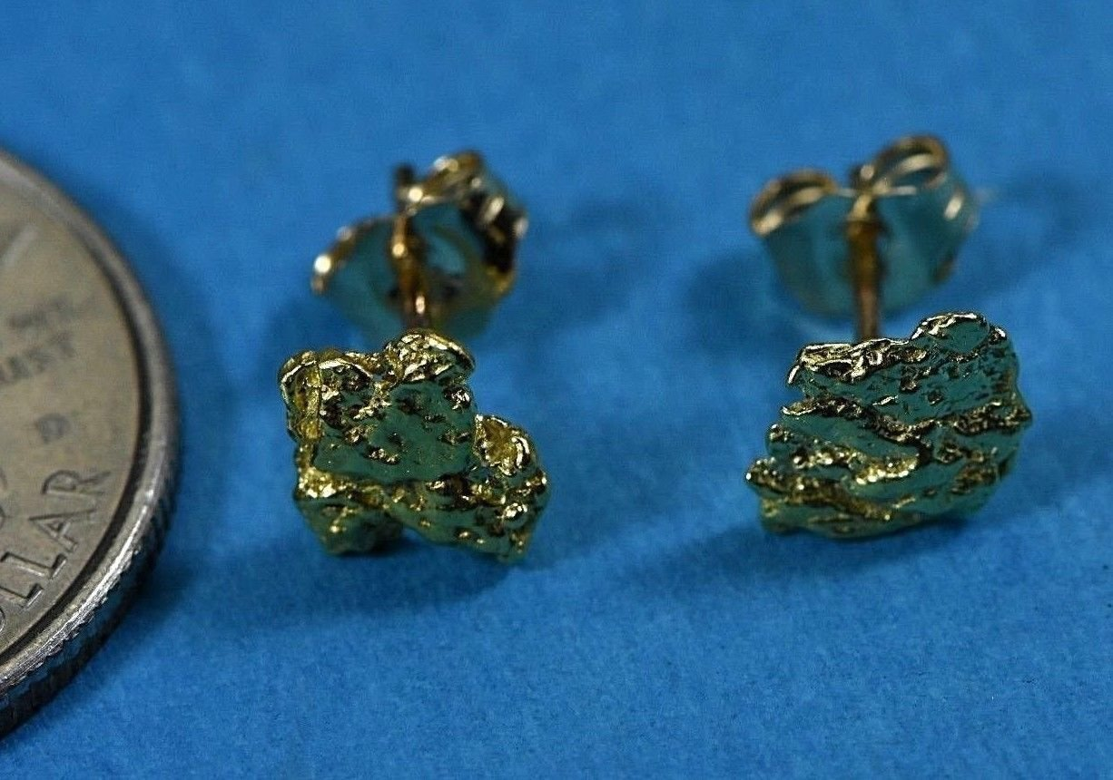 Alaskan-Yukon Bc Natural Gold Nugget Stud Earrings 1.00 To 1.10 Grams Alaskan