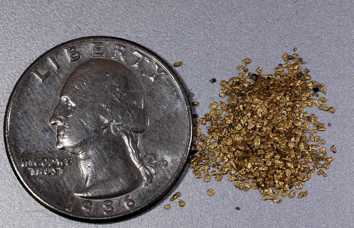 Alaskan Yukon Gold Rush Nuggets #30 Mesh 1 Grams Of Super Small Fines Bc Flake