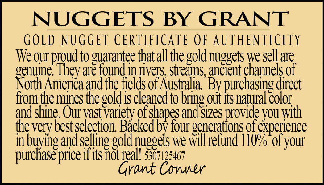 California Gold Nuggets 1 Grams of #8 Mesh Gold Authentic Natural American River