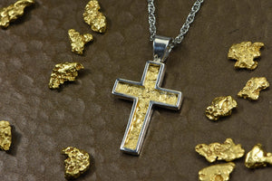 Gold Nugget Cross - Sterling Silver Pcr21Nss Hand Made Orocal Jewelry