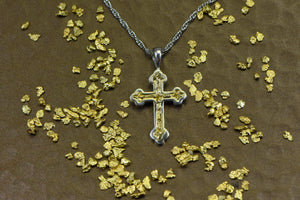 Gold Nugget Cross - Sterling Silver Pcr7Nss Hand Made Orocal Jewelry