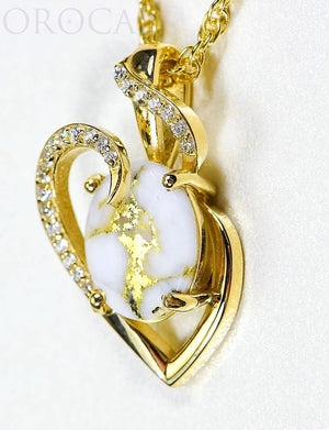 "Gold Quartz Pendant ""Orocal"" PN1129DQ Genuine Hand Crafted Jewelry - 14K Gold Yellow Gold Casting"