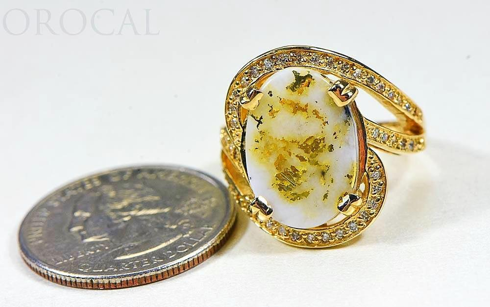 "Gold Quartz Ladies Ring ""Orocal"" RL1105DQ Genuine Hand Crafted Jewelry - 14K Gold Casting"