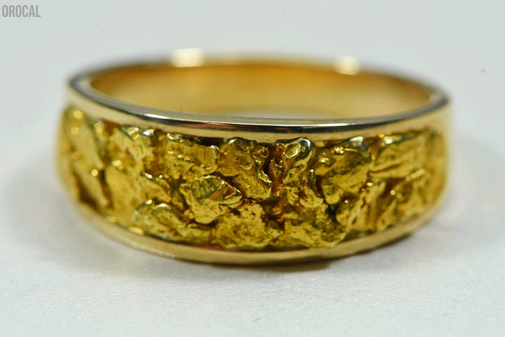 Mens Gold Nugget Ring Orocal Rm8.5Mmt Genuine Hand Crafted Jewelry - 14K Casting
