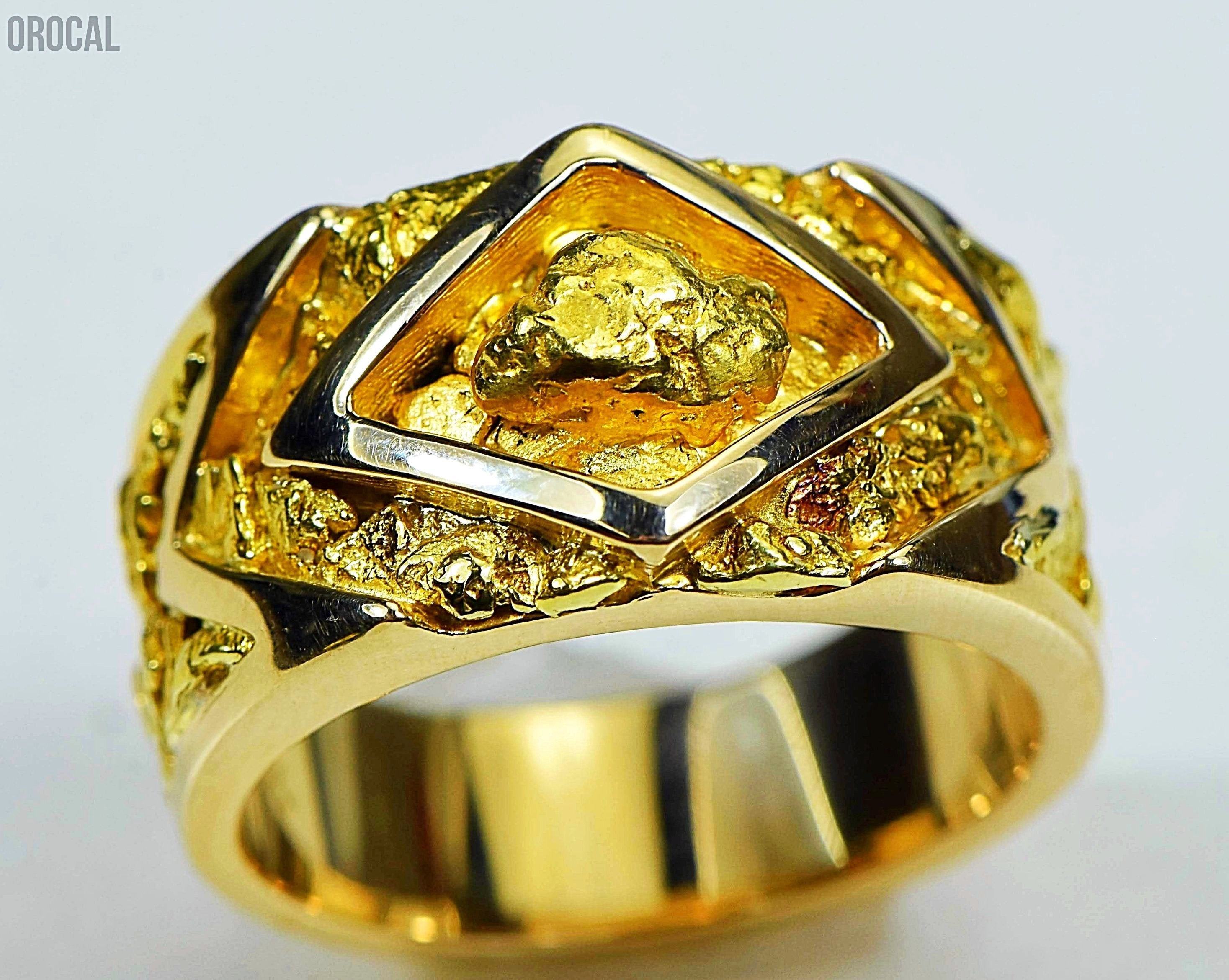 Gold Nugget Mens Ring Orocal Rm315 Genuine Hand Crafted Jewelry - 14K Casting