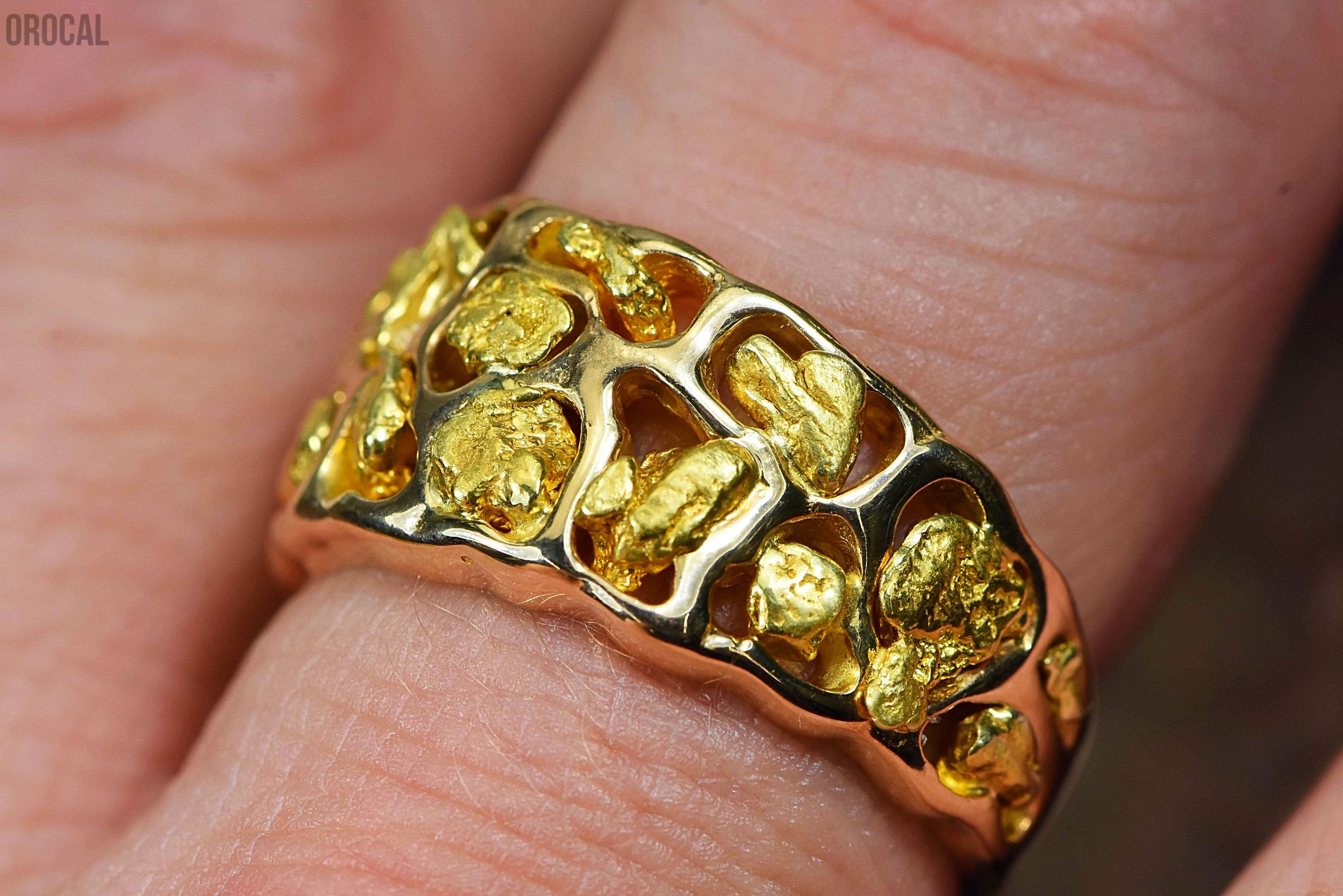 Gold Nugget Mens Ring Orocal Rm184 Genuine Hand Crafted Jewelry - 14K Casting