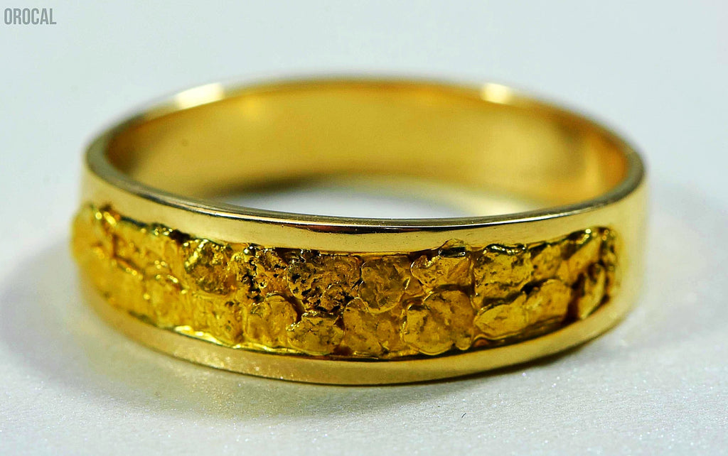 Gold Nugget Mens Ring Orocal Rm7Mmt Genuine Hand Crafted Jewelry - 14K Casting