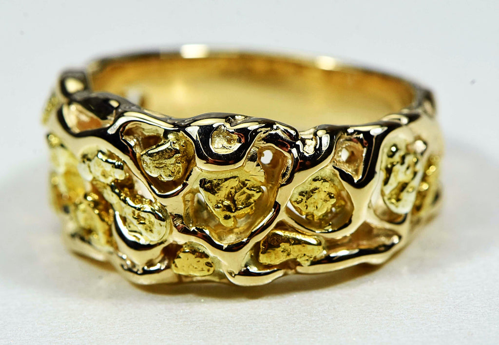 Gold Nugget Mens Ring Orocal Rm212 Genuine Hand Crafted Jewelry - 14K Casting