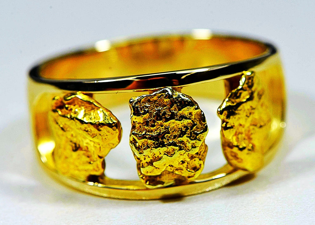 "Gold Nugget Men's Ring ""Orocal"" RM1087N/12MM Genuine Hand Crafted Jewelry - 14K Casting"