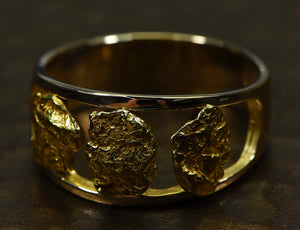 Gold Nugget Mens Ring Orocal Rm1087N/12Mm Genuine Hand Crafted Jewelry - 14K Casting