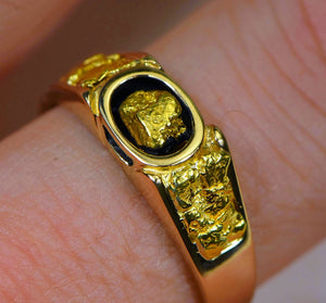 Gold Nugget Mens Ring Orocal Rm206 Genuine Hand Crafted Jewelry - 14K Casting