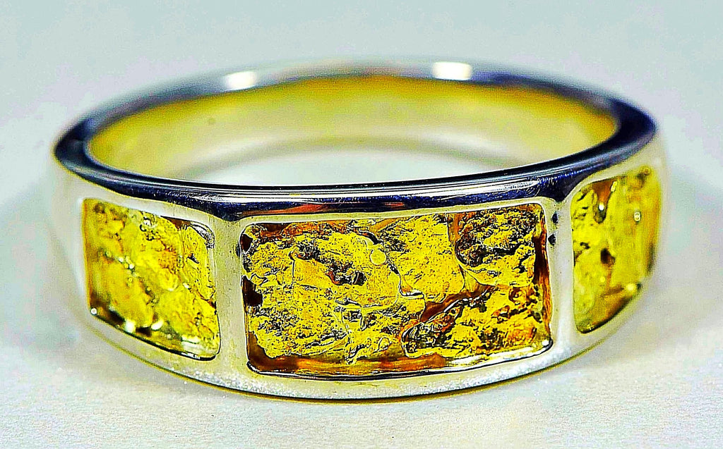 "Gold Nugget Men's Ring ""Orocal"" RM732NSS Genuine Hand Crafted Jewelry"