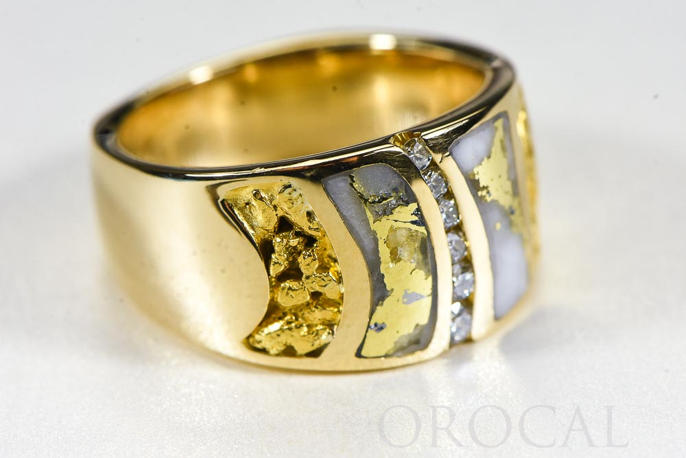 "Gold Quartz Ladies Ring ""Orocal"" RLDL58D15NQ Genuine Hand Crafted Jewelry - 14K Gold Casting"