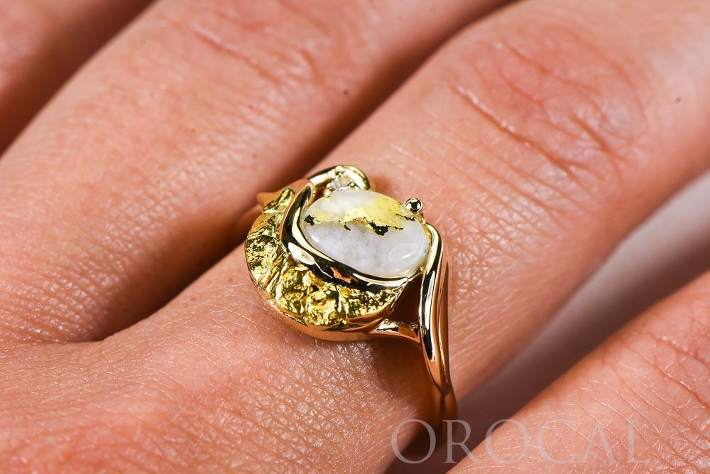 "Gold Quartz Ladies Ring ""Orocal"" RL1137DNQ Genuine Hand Crafted Jewelry - 14K Gold Casting"
