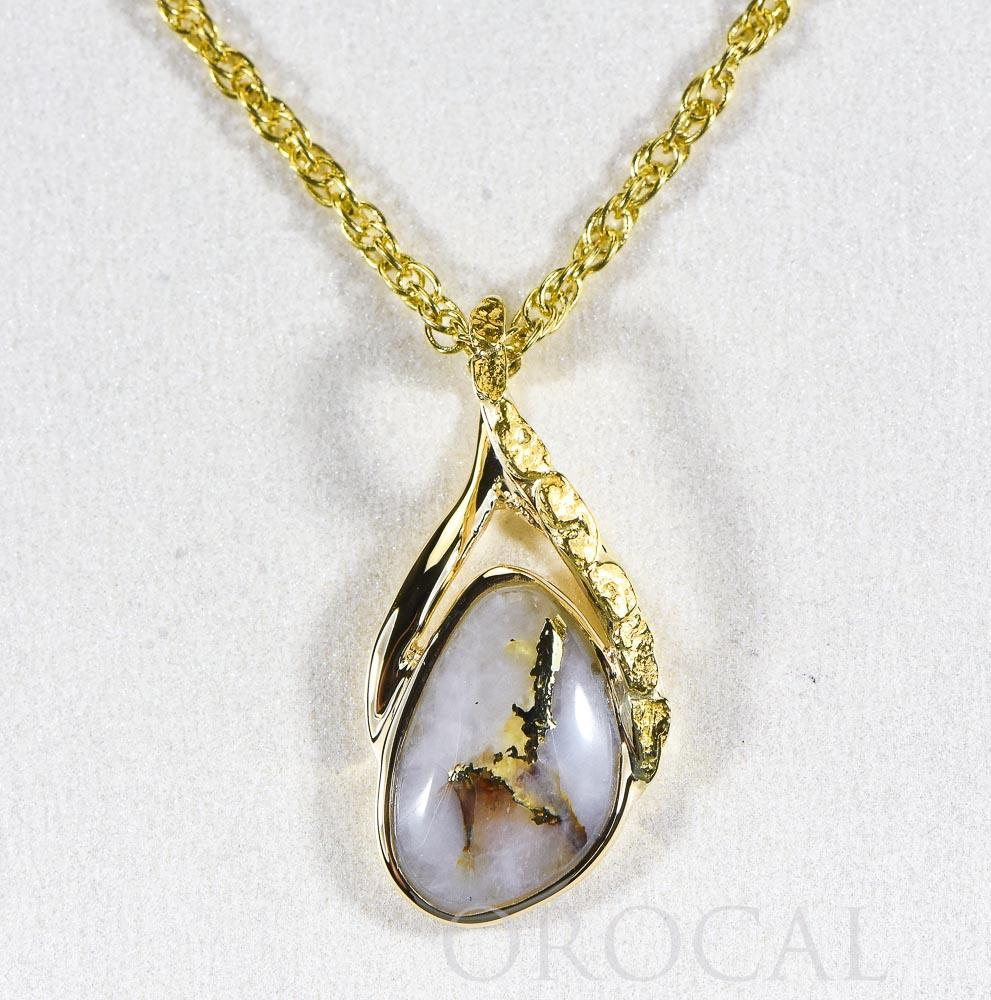"Gold Quartz Pendant  ""Orocal"" PSC128NQX Genuine Hand Crafted Jewelry - 14K Gold Yellow Gold Casting"