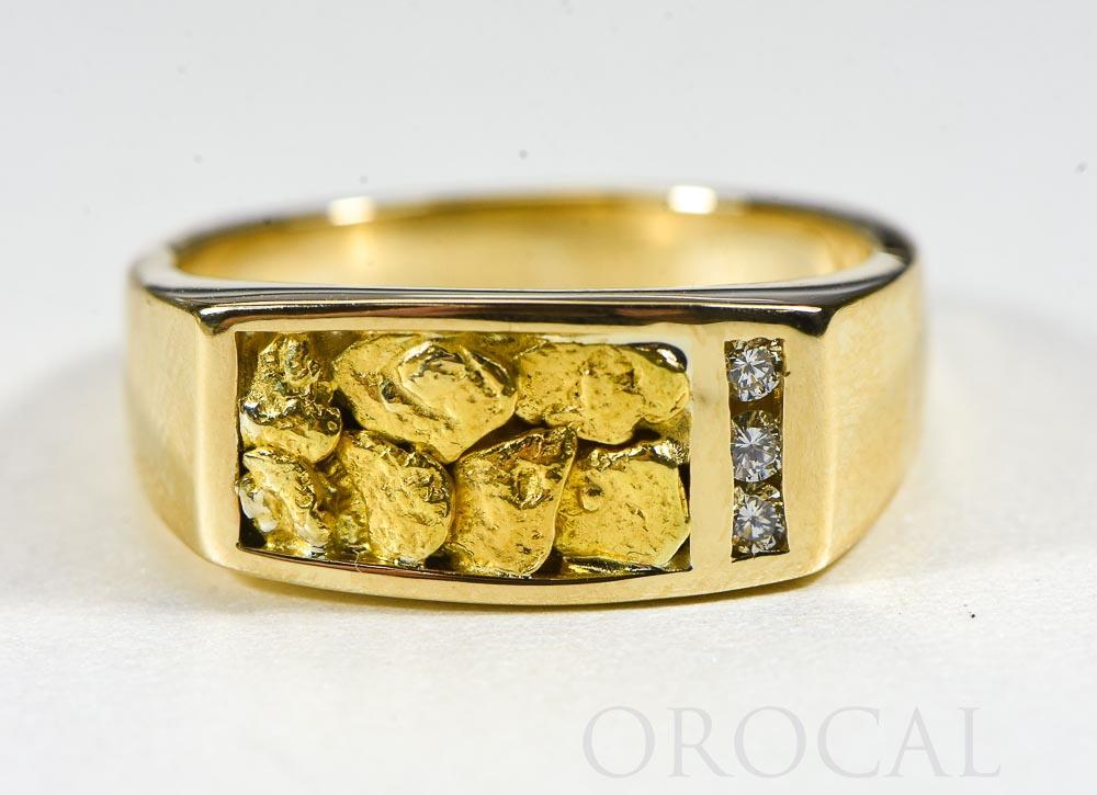 "Gold Nugget Men's Ring ""Orocal"" RM817D12N Genuine Hand Crafted Jewelry - 14K Casting"