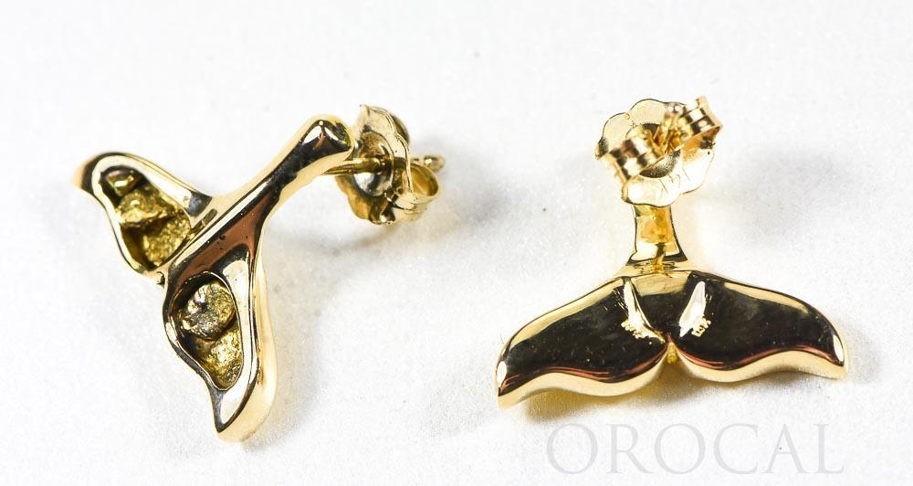 "Gold Nugget Whale Tail Earrings ""Orocal"" EDLWT8SOL Genuine Hand Crafted Jewelry - 14K Gold Casting"