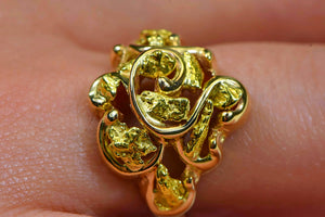 "Gold Nugget Ladies Ring ""Orocal"" RL462 Genuine Hand Crafted Jewelry - 14K Casting"