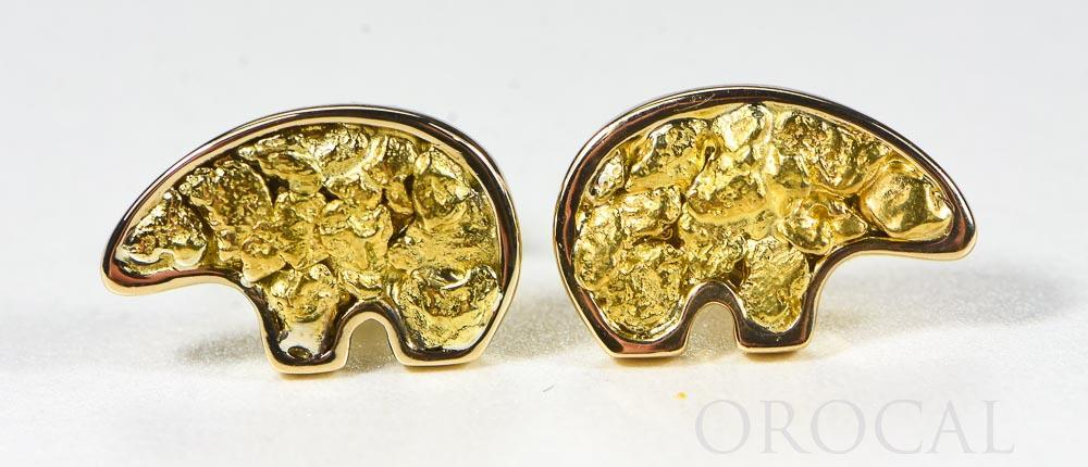 "Gold Nugget Bear Earrings ""Orocal"" EBR1MOL Genuine Hand Crafted Jewelry - 14K Gold Casting"