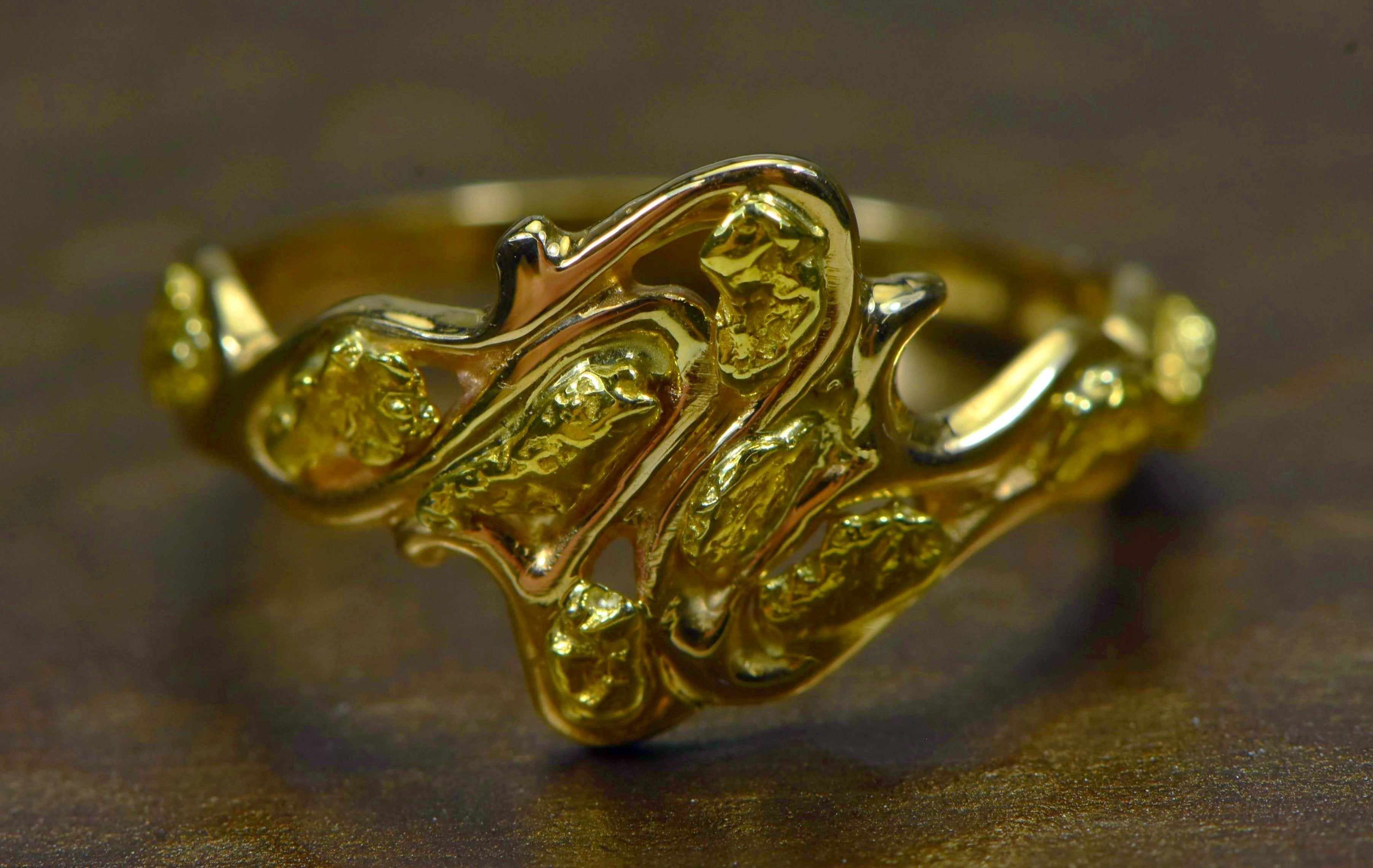 "Gold Nugget Ladies Ring ""Orocal"" RL180 Genuine Hand Crafted Jewelry - 14K Casting"