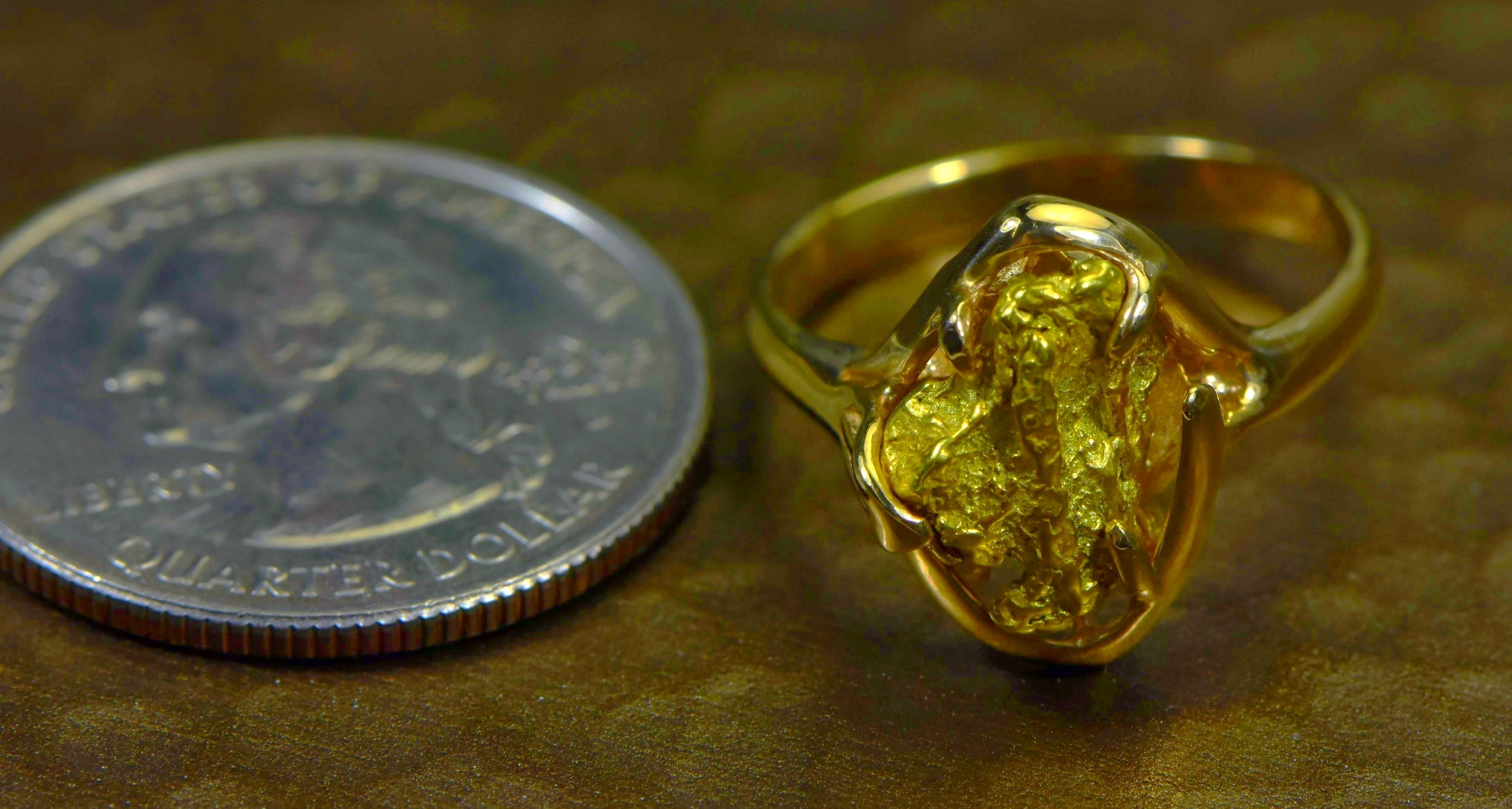 "Gold Nugget Ladies Ring ""Orocal"" RL233 Genuine Hand Crafted Jewelry - 14K"