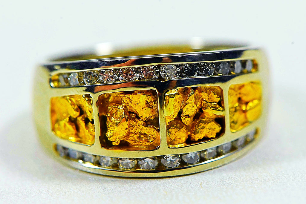"Gold Nugget Ladies Ring ""Orocal"" RL1075DNW Genuine Hand Crafted Jewelry - 14K Casting"