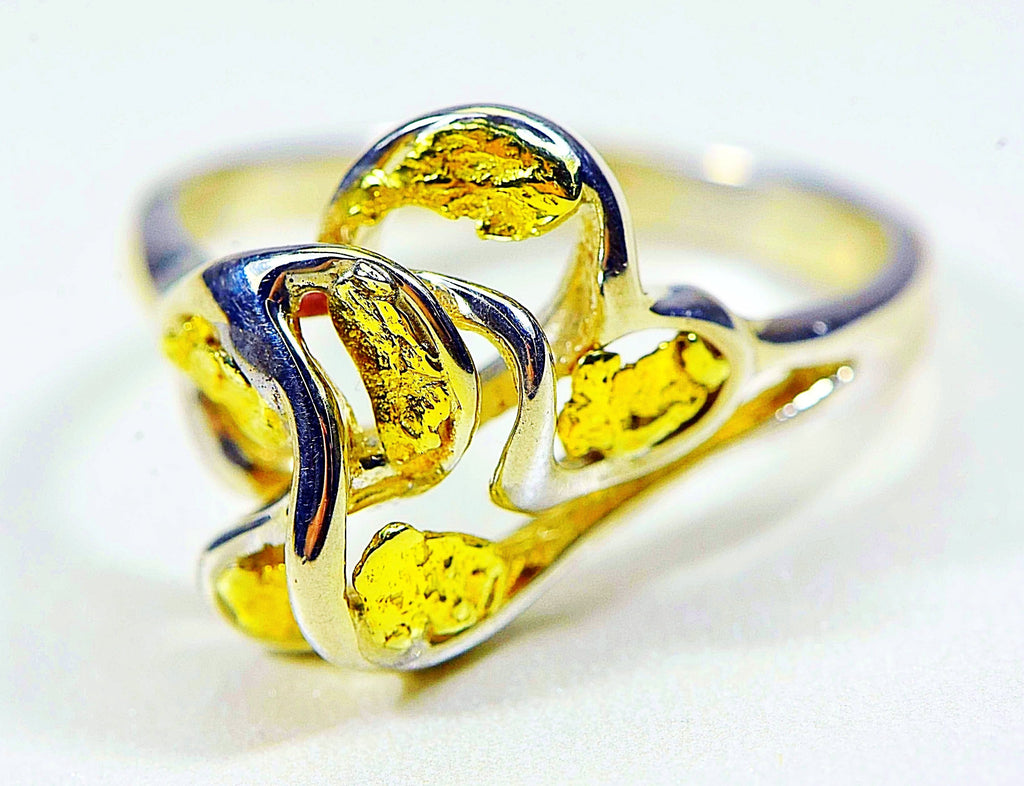 "Gold Nugget Ladies Ring ""Orocal"" RL169SS Genuine Hand Crafted Jewelry-14K"